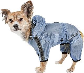 Dog Helios ® 'Torrential Shield' Waterproof Multi-Adjustable Full Bodied Pet Dog Windbreaker Raincoat, Medium, Blue