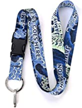 Buttonsmith Hokusai Waves Custom Lanyard - Customize with Your Text - Buckle and Flat Ring - Made in The USA