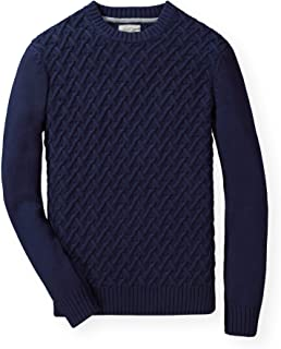 Men's Long Sleeve Herringbone Cable Pullover Sweater