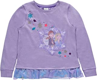Disney Girls Frozen Elsa Anna Chiffon Hem Sweatshirt Heather