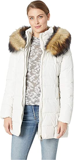 Puffer Jacket with Detachable Fur Hood and Waist Detail