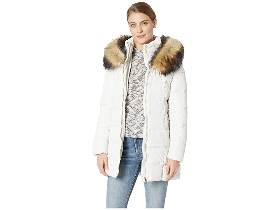 Ivanka Trump Puffer Jacket with Detachable Fur Hood and Waist Detail (Pearl) Women