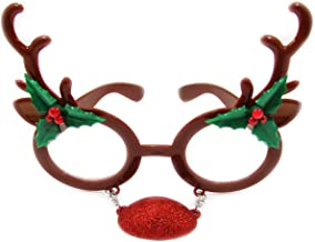 Unisex Elf or Reindeer Christmas Holiday Novelty Party Glasses for All Ages