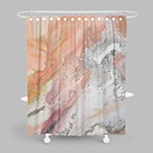 MuaToo Decorative Shower Curtain, Abstract Art Orange Peach Grey and Ochre Painting Print, Waterproof Fabric Bathroom Decor Sets with Hooks 72 x 78 Inches