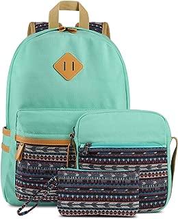 Plambag Canvas Backpack Set 3 Pcs, Casual Lightweight School Backpack for Women Teen Girls Water Blue