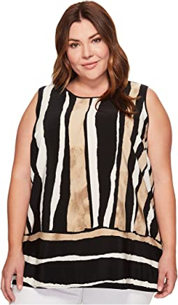 Plus Size Sleeveless Linear Terrain Blouse w/ Knit Back
