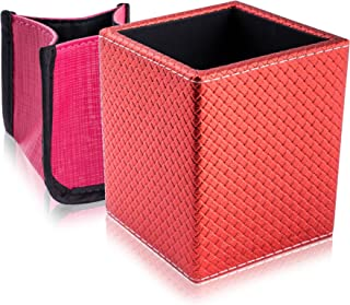 (Tootsie Red) - SHANY 2-in-1 Patterned Makeup Brush Holder with Removable Cosmetics Organiser Insert, Tootsie Red, 0.2kg