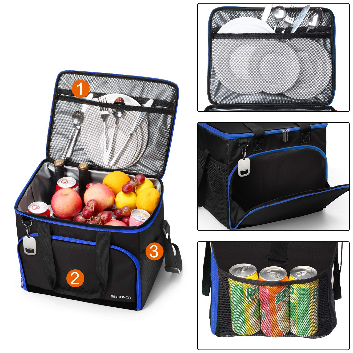 SEEHONOR Insulated Cooler Bag Leakproof Soft Sided Cooler Bag Collapsible Portable Cooler for Camping Picnic Lunch BBQ Beach 40 Cans