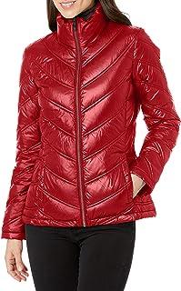 Calvin Klein womens Lightweight Chevron Quilted Packable Down Jacket