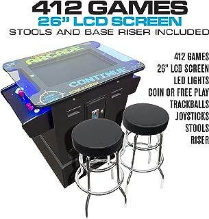 Creative Arcades Full-Size Commercial Grade Cocktail Arcade Machine | Trackball | 412 Classic Games | 2 Sanwa Joysticks | 2 Stools | 26