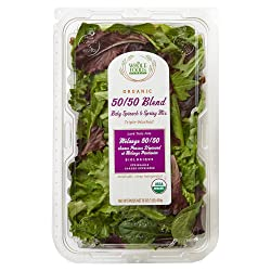 Whole Foods Market, Organic 50-50 Blend, Baby Spinach & Spring Mix, 16 oz