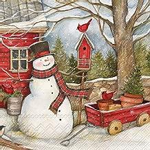 Ideal Home Range 40 Count 3-Ply Paper Beverage Drink Dessert Christmas Cocktail Napkins, Snowman Barn