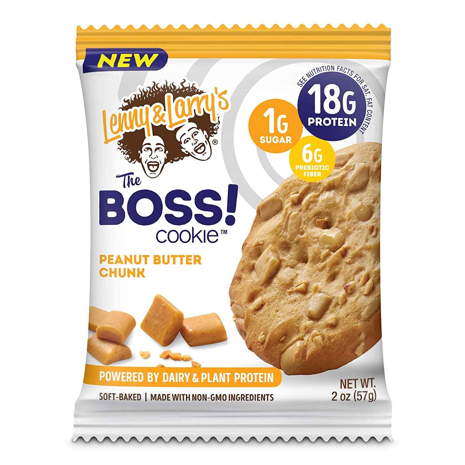 Lenny & Larry's The BOSS Cookie, Peanut Butter Chunk, 2 oz, 18g Dairy & Plant Protein, 1g Sugar, 6g Fiber, 1g Net Carbs - 12 Count