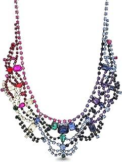 Womens Rainbow Rhinestone Geo Casted Bib Necklace