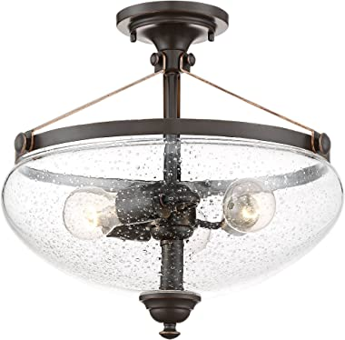 """Hartfield Rustic Farmhouse Ceiling Light Semi Flush Mount Fixture Oil Rubbed Bronze 15 1/4"""" Wide 3-Light Clear Seedy Glass for Bedroom Kitchen Living Room Hallway Bathroom - Franklin Iron Works"""
