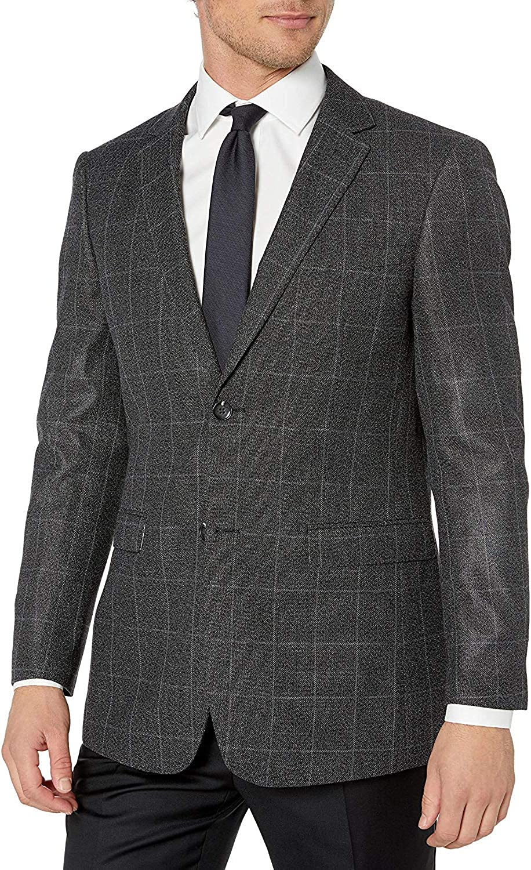 Adam Baker by Gianco Ferro Mens 83571 Slim fit Notch Lapel Plaid Sport Coat - Dark Grey - 40L