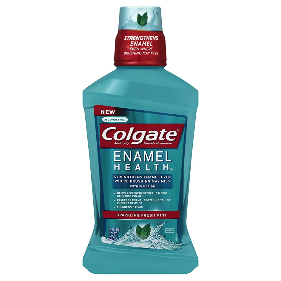 ツール操る病気のColgate エナメル健康スパークリングフレッシュミント虫歯予防フッ素うがい薬、500ミリリットル - 6パック