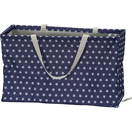Amazon Com Household Essentials 2240 Krush Canvas Utility Tote Reusable Grocery Shopping Laundry Carry Bag Blue With White Stars 22 L X 11 W 13 H Home Kitchen