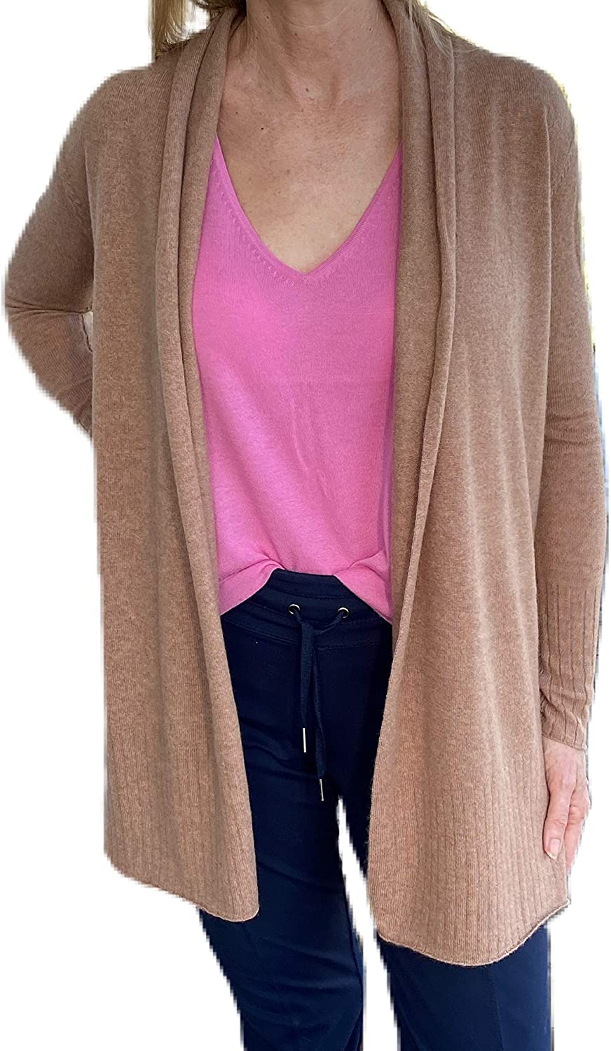 Women's 100% 2-ply Cashmere Open Front Cardigan Sweater Beige