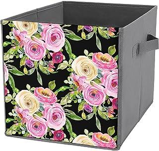 Cubes de rangement, roses aquarelles en rose et crème sur toile noire pliable, paniers de rangement ouverts, panier de ran...