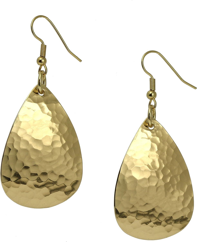 Medium Hammered Tear Drop Nu 1 year warranty Gold excellence Earrings S John Brass By Brana