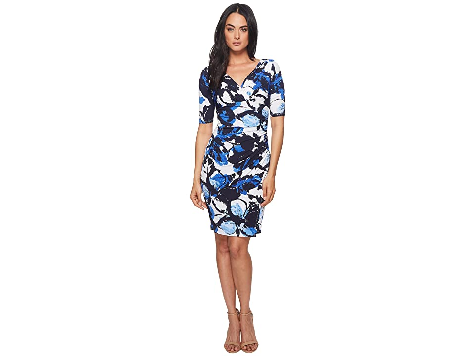 LAUREN Ralph Lauren Chelsie Azrou Floral Dress (Colonial Cream/Lighthouse Navy/Blue) Women