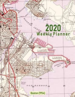2020 Weekly Planner: Boston (1954): Vintage Topo Map Cover