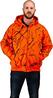 TrailCrest Men's Safety Blaze Orange/Camo Double Fleece Full Zip Hoodie