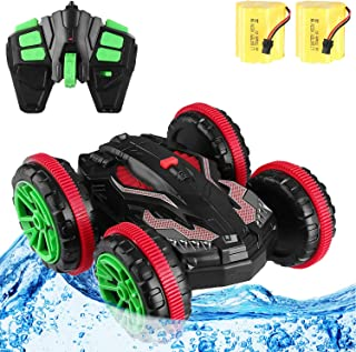 Blexy Amphibious RC Stunt Car Boats Double Sided 2.4Ghz Remote Control Cars Land Water 360 Degrees Rotating Flips 6CH 4WD Electric Racing Vehicle Off-Road Trucks Tank Present for Kids