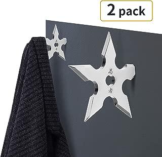 SUS304 Stainless Steel Shuriken Heavy Duty Coat Hooks Wall Mounted 35 LB Utility Hooks Heavy Hooks Dual Robe Hook Coat Hanger (Shuriken)