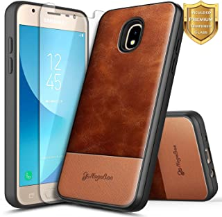NageBee Case for Samsung Galaxy J7 Crown, J7 Star/J7 Refine/J7 2018/J737/J7 TOP/J7 V 2nd Gen/J7 Aura/J7 Aero with Tempered Glass Screen Protector, Premium Cowhide Leather Hybrid Rugged Case -Brown