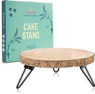 پایه کیک چوبی Timber Tree 10 اینچی مخصوص میز دسر - سینی نگهدارنده کیک گرد روستایی تزیین وسط پایه زیرانداز پلاتین چوبی با پایه های فلزی محکم برای کیک های عروسی