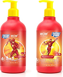 WOW Skin Science Kids 3 in 1 Wash + Kids Body Lotion - SPF 15 - Red Speedster Flash Edition - 600mL combo