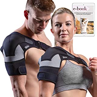 Shoulder Brace - Compression Sleeve for Rotator Cuff Pain Relief, Adjustable Support for Men and Women, Pressure Pad for hot or ice Pack for Shoulder Impingement Syndrome, Tendonitis, Arthritis...
