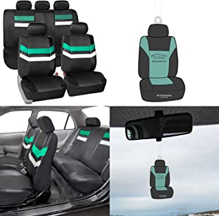 FH Group PU006115 Varsity Spirit PU Leather Seat Covers, Airbag & Split Ready, Mint/Black Color