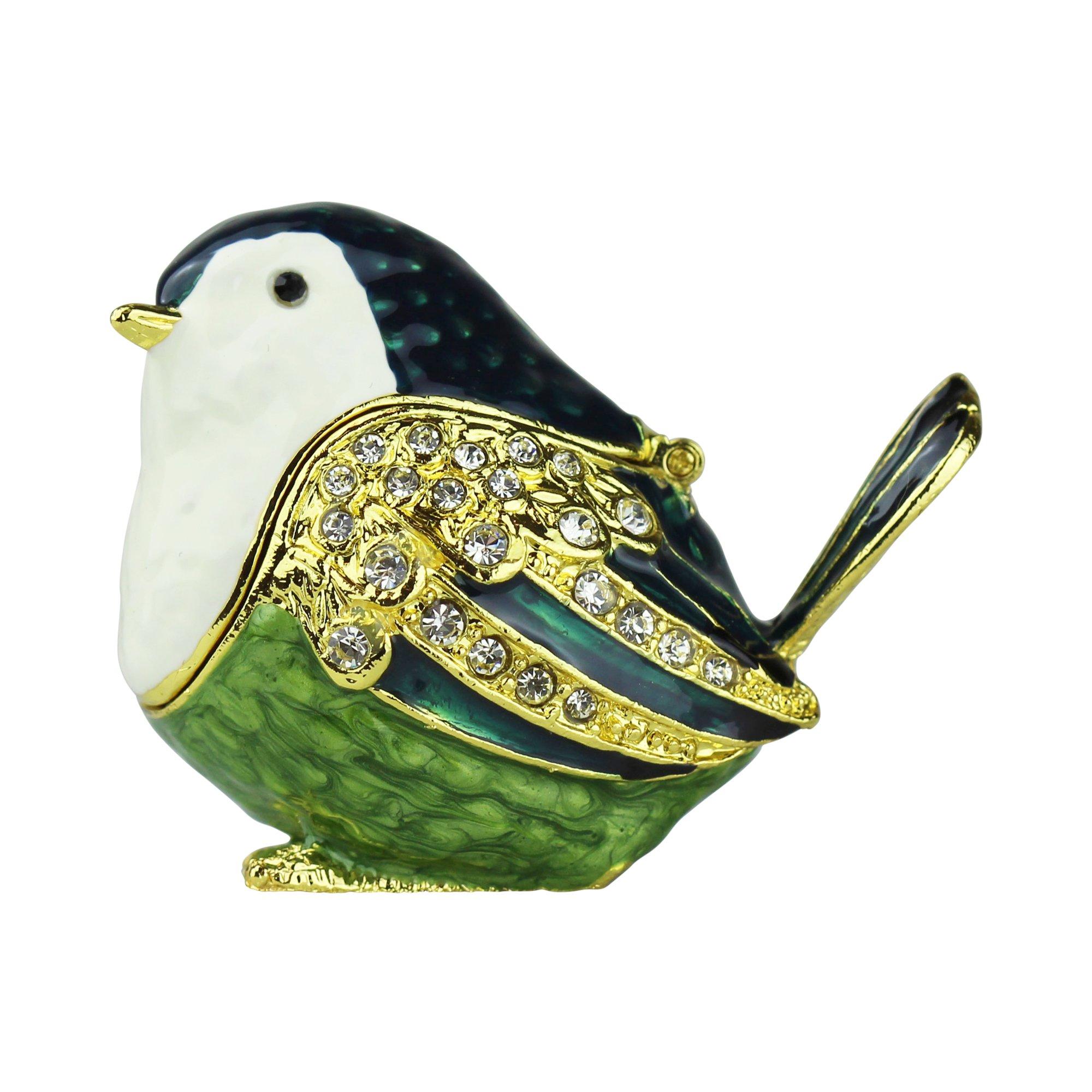 Image of Pretty Green Little Sparrow Bird Trinket Box