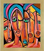 لوحة زيتية أرتيست بي بيكاسو، أربعة عيون من تصميم نورا شيبلي، مقاس 60.96 سم × 71.12 سم، إطار Semplice Specchio