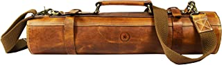 Leather Knife Roll Storage Bag   Elastic and Expandable 10 Pockets   Adjustable/Detachable Shoulder Strap   Travel-Friendly Chef Knife Case Roll By Aaron Leather (Caramel, Leather)