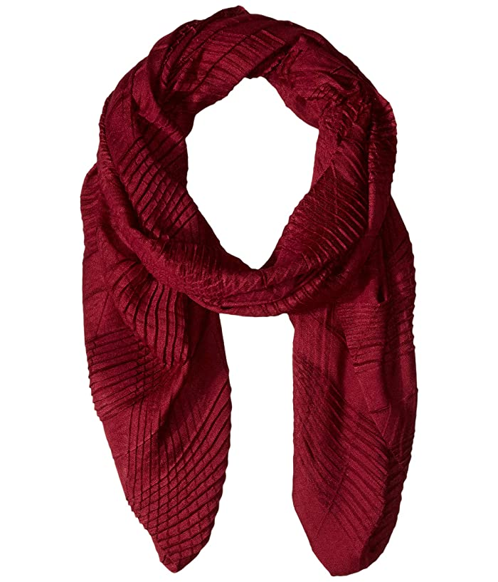 Echo New York  Pleated Plaid Milk Wrap (Boysenberry) Scarves