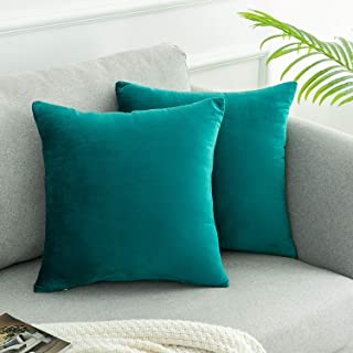 WLNUI Set of 2 Soft Velvet Solid Teal Blue Decorative Square Throw Pillow Covers Set Cushion Case for Sofa Couch Home Decor 18x18 Inch 45x45 cm