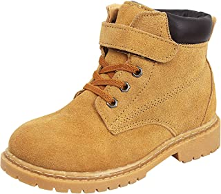 zpllsbratos Unisex Girl's Boy's Classic Velcro Boots Suede Outdoor Hiking Trekking Short Ankle Winter Snow Boots