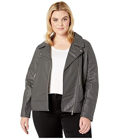 YMI Snobbish Plus Size Faux Leather Jersey Lined Moto Jacket (Charcoal) Women
