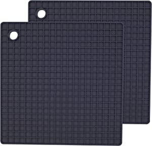 AvecToi Set of 2 Food Grade Silicone Trivet Mat for Hot Pots, Pans and Dishes (Gray)