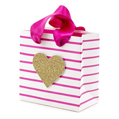 Valentines Brand New Large Stripes and Hearts Glitter Gift Bag