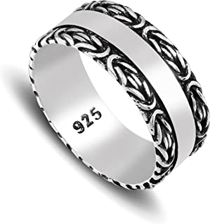 chimoda Mens Silver Band Ring with King's Chain Motif in 925 Sterling