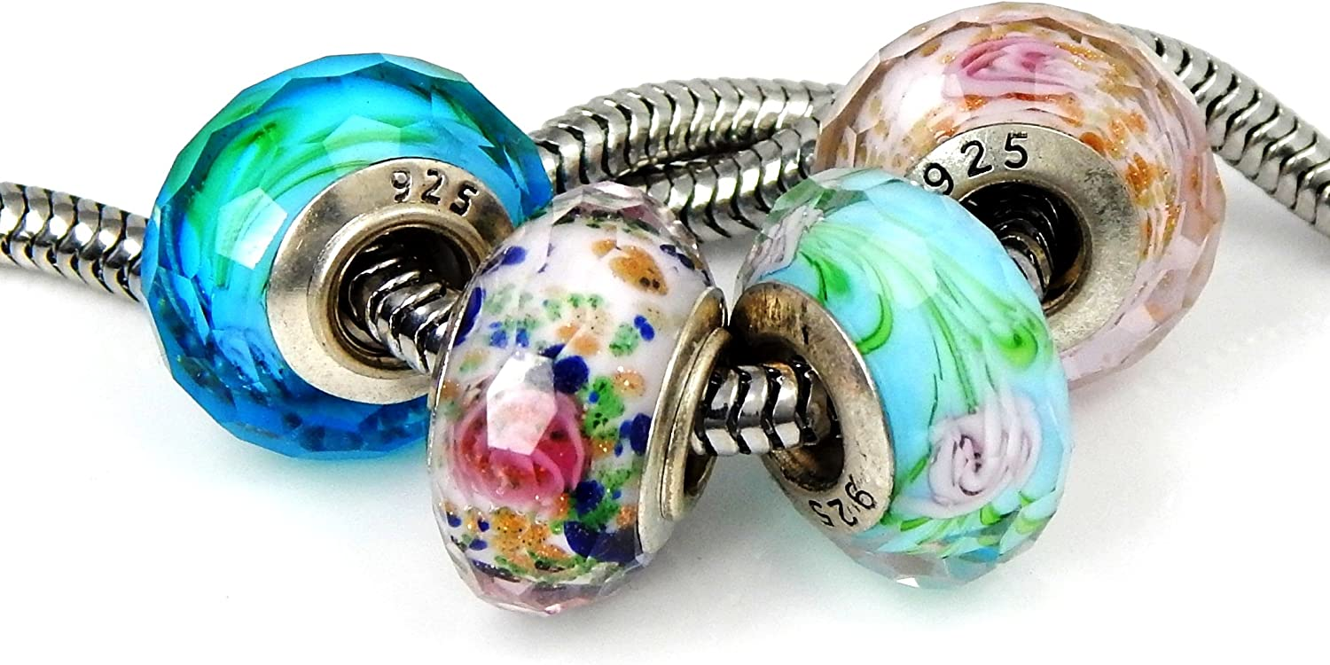 Set of 4 Handmade Faceted Murano Glass Charm Bead with Roses for Charms Bracelets