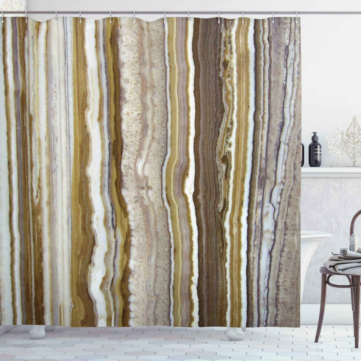 Ambesonne Marble Shower Curtain Super Indianapolis Mall sale Onyx Themed Vertica Rock