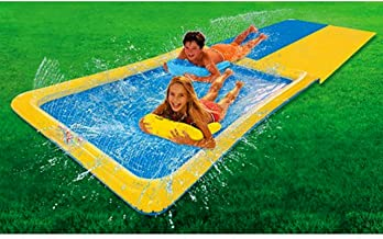 Inflatable Slip N Slide. This Big Sprinkler Hydroslide Double Kiddie Blow Up Above Ground Long Waterslide is Great for Kids & Children, Aqua Splash to Have Outdoor Water Fun with All Family. 15 Foot.