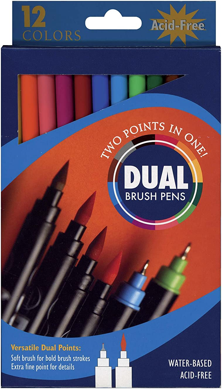 PRO ART Dual End Brush Pen Set, 12 Color