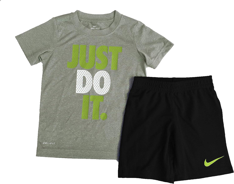 Nike Boy`s Dri-Fit T-Shirt & Shorts 2 Piece Set (Dark Grey Heather(86C184-GK6)/Black, 6): Clothing